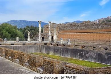 Tivoli, Italy - January 16, 2020: picturesque ancient ruins in Villa Adriana (Hadrian's Villa) in Tivoli, neighborhood of Rome, Italy