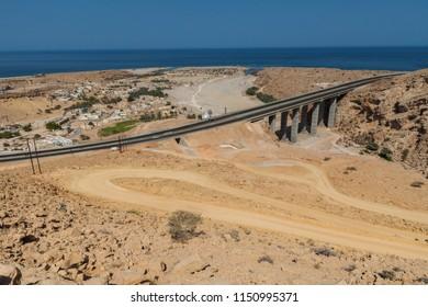 Tiwi Bridge Areal view, Wadi Shab, Oman