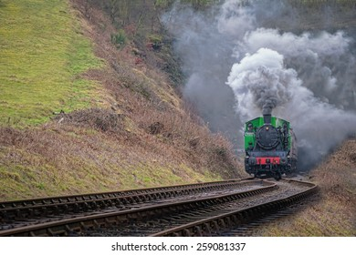 TKh 2944, exiting the Leekbrook tunnel on the Churnet Valley Railway. The TKh's were built by Fablok in Poland, between 1947 and 1961, as industrial shunters.