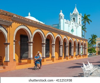 TLACOTALPAN, MEXICO - November, 18, 2013: Streets of mexican colonial town Tlacotalpan, UNESCO World Heritage Site