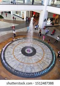 Tlalnepantla de Baz, Estado de Mexico / Mexico - 08 31 2019: Kids Playing in Fountain Inside Mundo E, Dancing Fountain