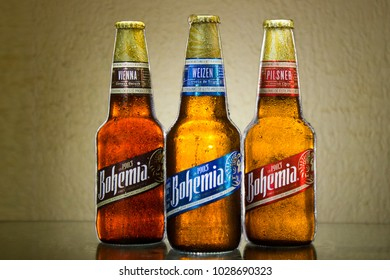 Tlaxcala, Mexico - February 19.2018.Bohemia is a Mexican beer made by the Cuauhtemoc Moctezuma Brewery, it comes in three variety of styles