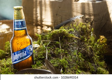 Tlaxcala, Mexico - February 19.2018.Bohemia Weizen is a Mexican craft-style wheat beer made by the Cuauhtemoc Moctezuma Brewery, its own by Heineken group