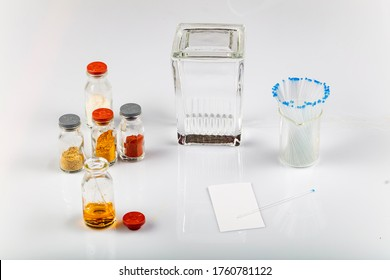 TLC equipments include, capillaries, silica gel, jar and compounds. Thin layer chromatography is used to separate components.