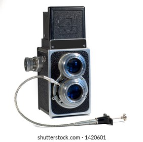 TLR Camera with remote cable release isolated on white