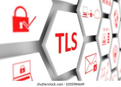TLS concept cell blurred background 3d illustration