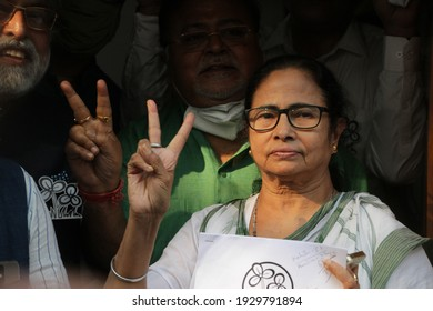 TMC supremo Ms. Mamata Banerjee announcing candidates for upcoming assembly election 2021 in West Bengal from Kalighat TMC party office today.