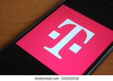 T-Mobile logo app on Samsung phone screen on cicra September 2019 in Krakow, Poland.