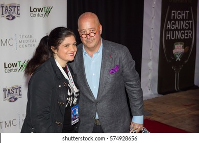 TNFL Celebrity Chef host Alex Guarnaschelli (L) and Andew Zimmern attends the 26th Annual Taste of the NFL's Party with a Purpose at the University of Houston on February 4th, 2017 - USA