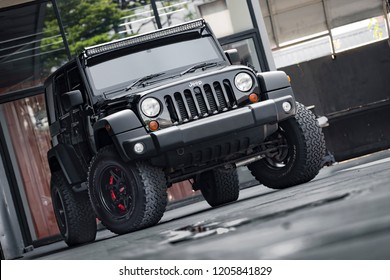 TNP CAR,BANGKOK - 10 June 2018 Jeep Wrangler Sahara Black