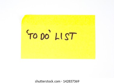 'To Do' List written on a yellow sticky note