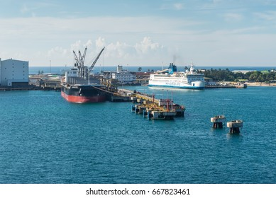 Toamasina, Madagascar - December 22, 2017: Ships in the port of Toamasina (Tamatave), Madagascar. Toamasina is the nation's chief port and is connected by rail with Antananarivo.