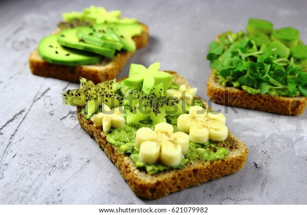 toast with avocado,banana and kiwi.vegetarian food