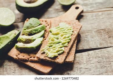 Toast with avocado/toned photo