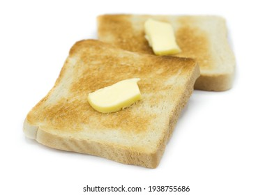 Toast bread with butter isolated on white background