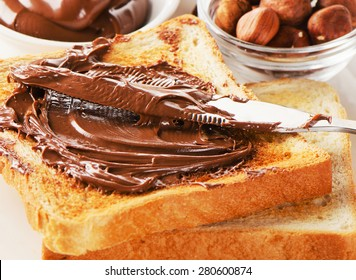 Toast bread with chocolate cream for  sweet breakfast.