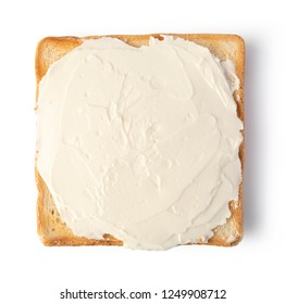 toast bread with cream cheese on white background