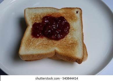 Toast Bread with strawberry jam Breakfast