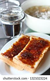 toast bread with thai sweet chili paste. breakfast