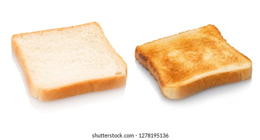 Toast bread untoasted and toasted white isolated