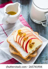 toast with cheese, apple and dried fruits, healthy breakfast, clean eating
