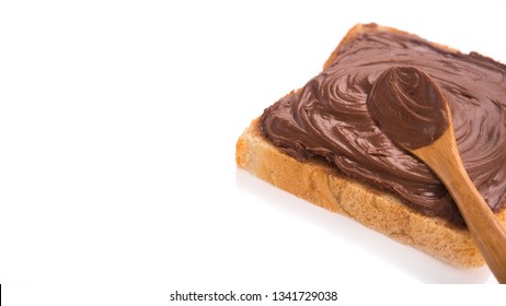 Toast with chocolate isolated on a white background. high-calorie food