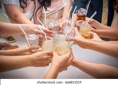 Toast glass with Champagne ,Beer ,Water during the wedding say.