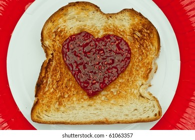 Toast with Jam in the shape of Heart