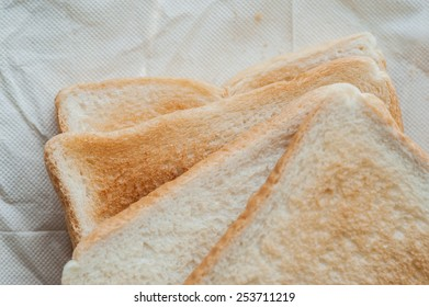 Toast on a paper napkin.