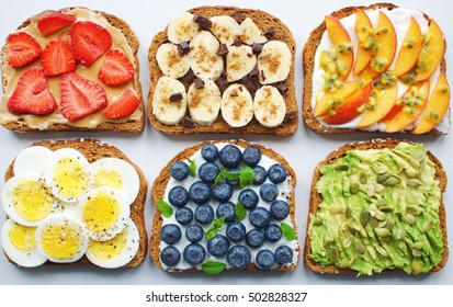 Toast party - strawberry/peanut butter, honey/banana/cinnamon/dark chocolate, greek yogurt/peach/passion fruit, egg/salt+pepper, greek yogurt/blueberries/mint, avocado/pumpkin seeds/lemon/salt+pepper