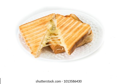 Toast sandwich with cheese isolated on white