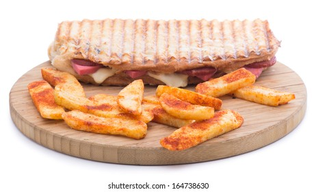 Toast with sausage and cheese isolated on white background