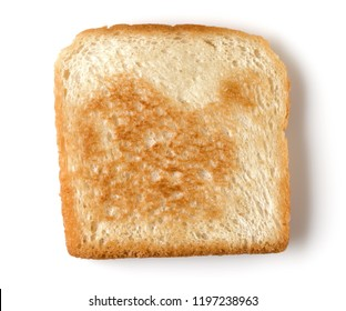 Toast slice isolated on white background close up. Top view.