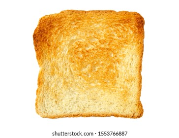 Toast slice isolated on white. Close-up of toast, top view. Toast isolated on white. Single slice of lightly toasted white bread. Sliced Toast Bread, top view.