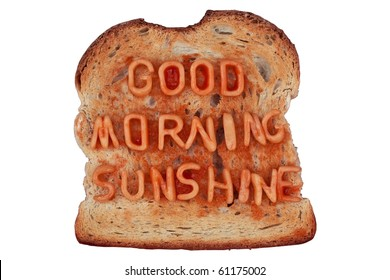 """Toast with Spaghetti Letters Spelling """"Good Morning Sunshine"""""""