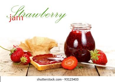 Toast with strawberry jam and fruits, rustic style with place for your text on the left