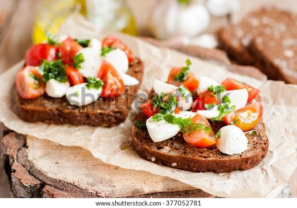 toast with tomato and mozzarella