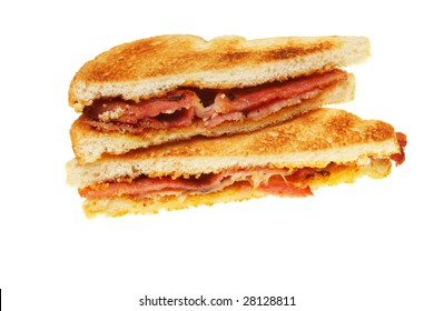 Toasted bacon sandwich isolated on white