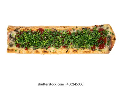 Toasted baguette with cheese, mushrooms and chive isolated on white background with clipping path