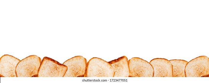 Toasted bread bottom border. Isolated on white background. Golden crisp on toaster bread. Appetizing border for bakery or bread department in store. Can be used for baking classes and courses.
