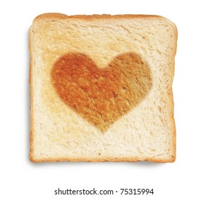 toasted bread with heart shaped burn mark isolated on white background