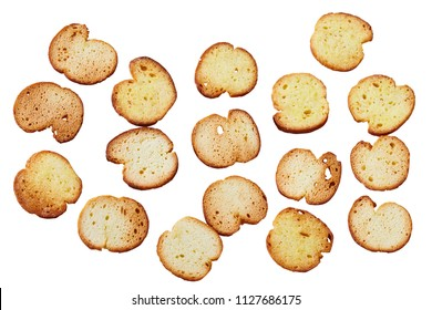 Toasted bread  (Italian bruschetta toasts) isolated on white background, Top view. Slices of toasted baguette