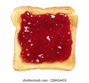 Toasted bread with jam isolated on white background