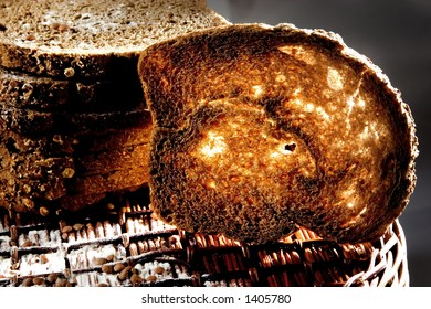 Toasted bread on basket, nice light.