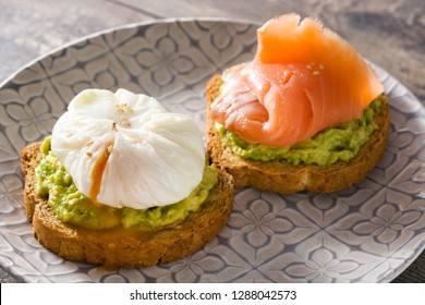Toasted breads with poached eggs, avocado and salmon in plate on wooden table.