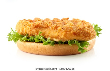 toasted burger bread with fried chicken meat and lettuce isolated on white background