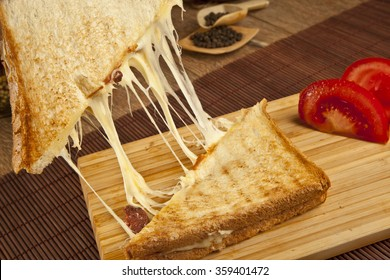 toasted cheddar cheese and sucuk sausage sandwich turkish toast