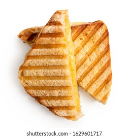 Toasted cheese sandwich with grill marks cut in half isolated on white. Top view.