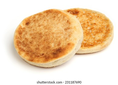 Toasted English muffin on white background.
