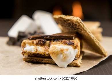 Toasted Marshmallow on Smore from side